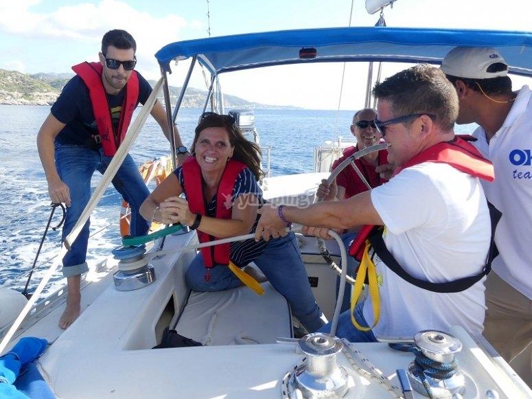 Boarding the sailboat