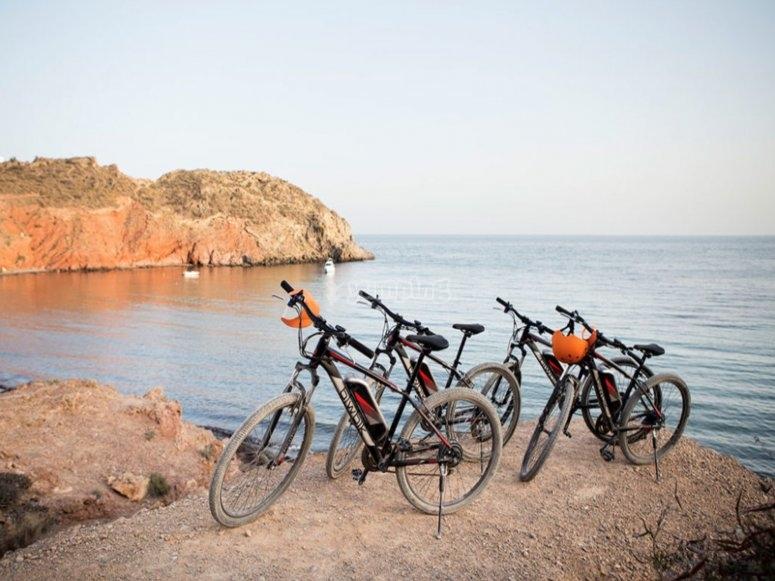 cuatro bicicletas en la costa