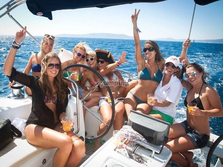 Girls celebrating in the boat