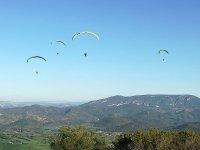 Grupo de parapentes en el aire