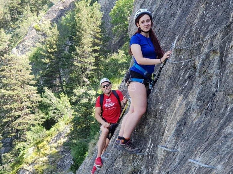 Mountain rock climbing