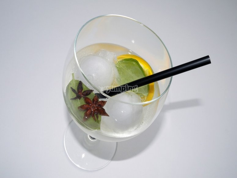 Gin and tonic with straw