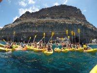 在莫甘(Mogán)的皮划艇和水上拉链线游览