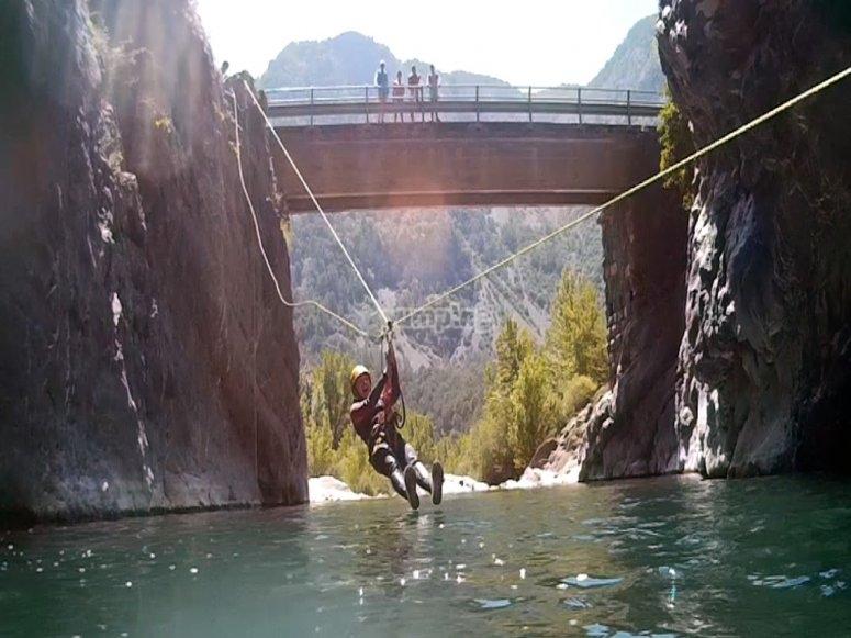 Zip-lining in water