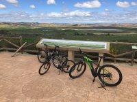 bikes at an information post
