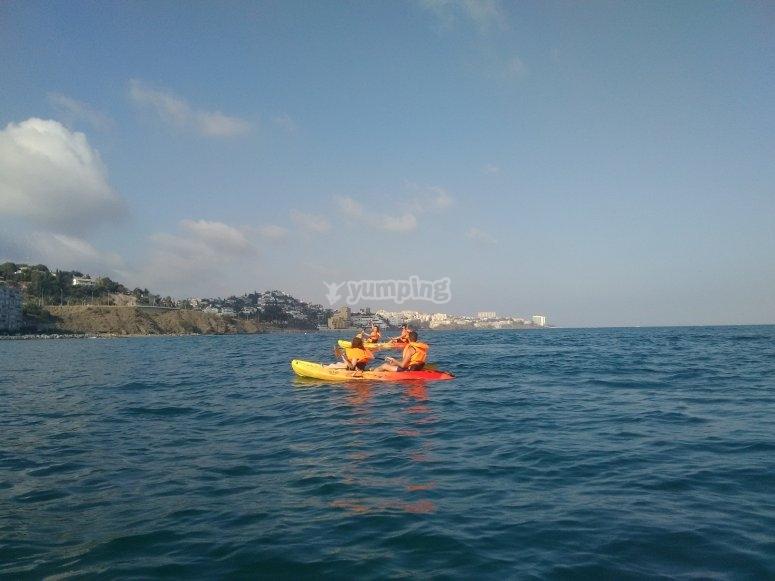 kayak biplaza en el mar