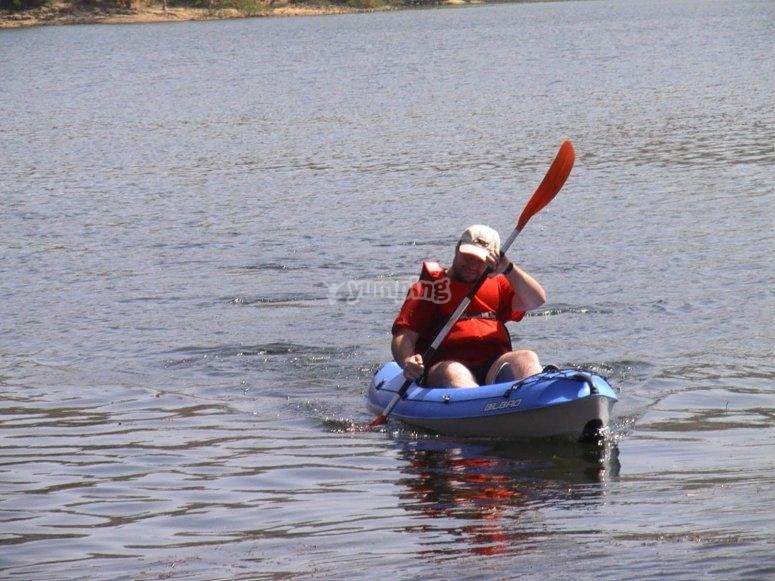 Yellow two-seater kayak