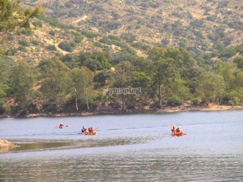 Kayak route through the Encinarejo reservoir