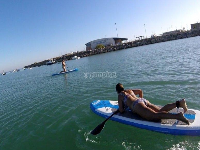 在SUP板上划桨