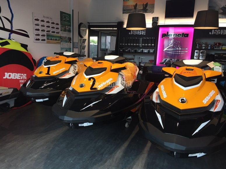 Jet skis in the shop