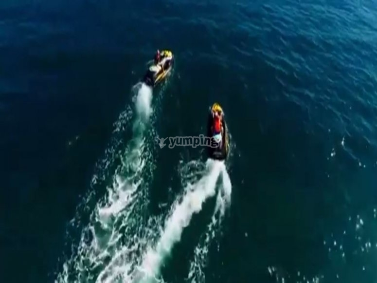 Aerial view of jet skis