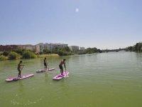 Amigos en ruta de paddle surf