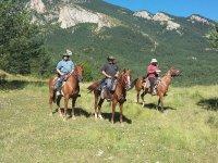 Protegidos con sombrero a caballo