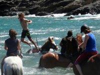 Saltando al agua desde el caballo