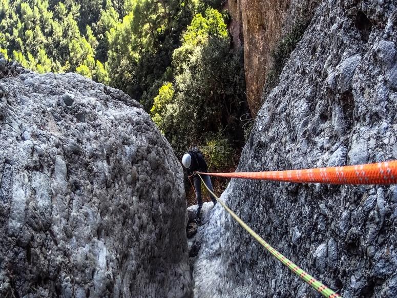 在山沟内进行垂降练习