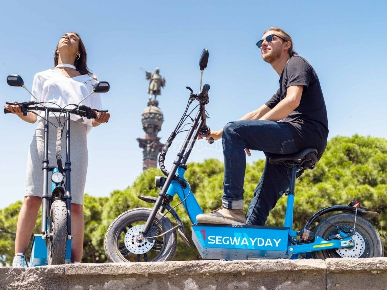 Montjuic route by scooter