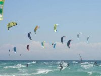 Many kitesurfers in the water