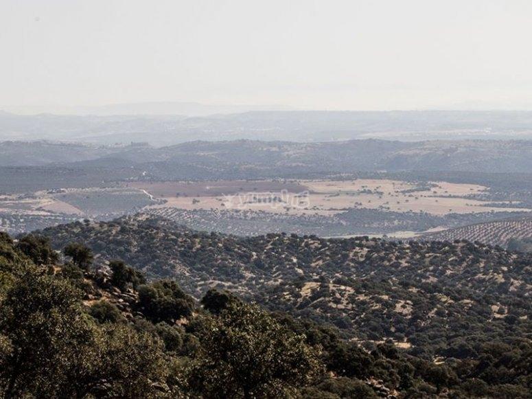 Contemplando las vistas del Parque Natural de Andújar en nuestra ruta de linces