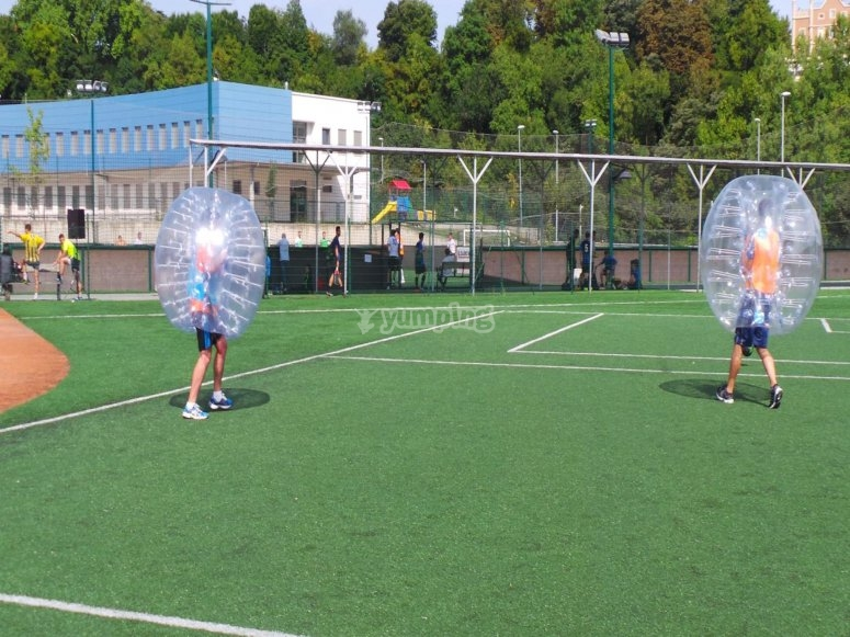 Football with zorbing