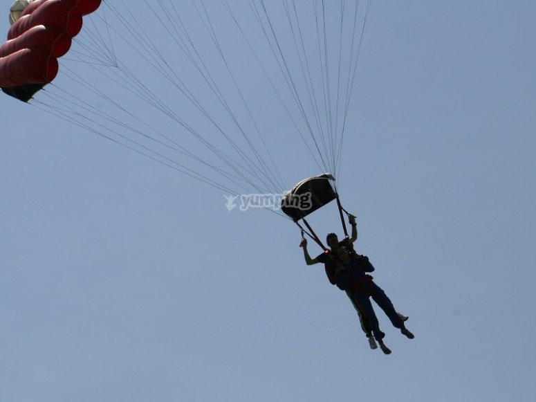 Floating after we have opened the parachute