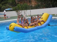 Inflatable banana in the pool