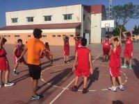 Playing at basketball