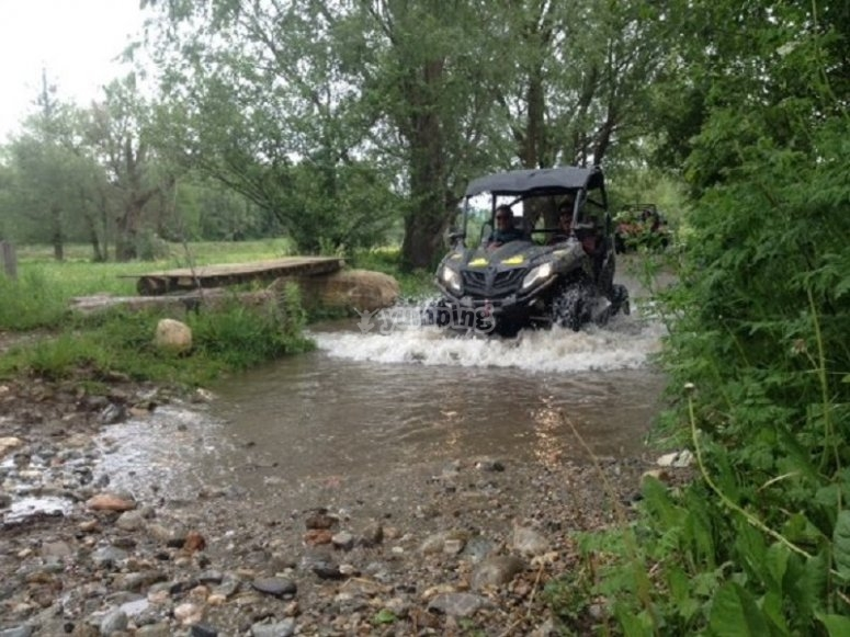 Buggy passing through the water