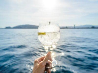 在巴塞罗那的经典帆船航行和杜松子酒和滋补品