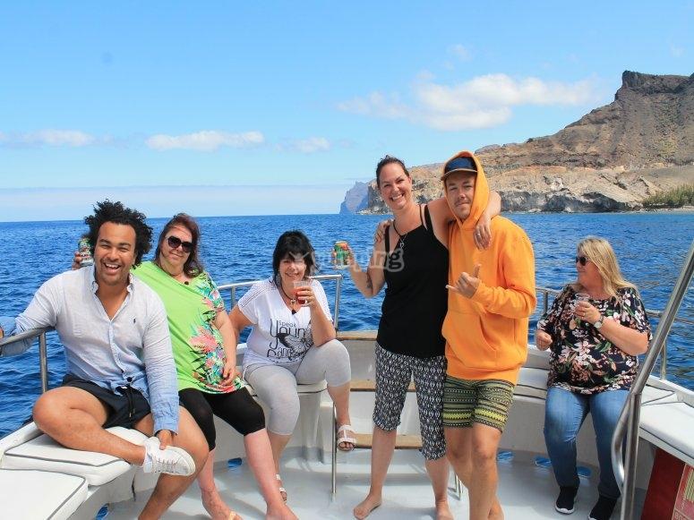 Disfrutando a bordo con la familia