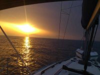 Sunset on the sailboat