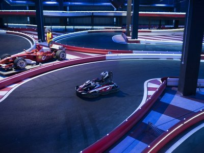 Karting sprint race in indoor circuit Burjassot
