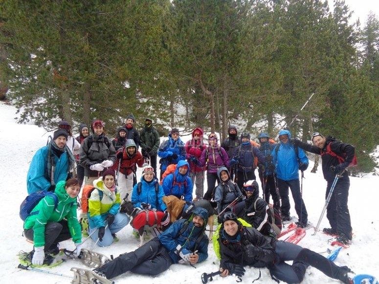 走集团化雪鞋远足Bergueda和Cerdanya的