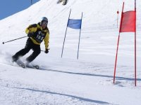 hombre esquiando entre varios postes