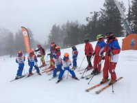 Group of skiers on holiday