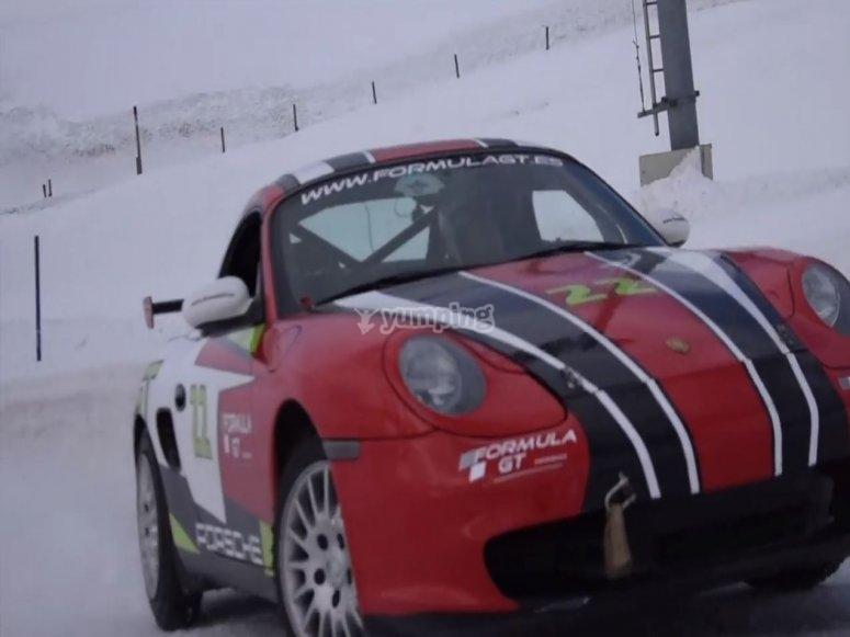 Testing a Porsche on the snow