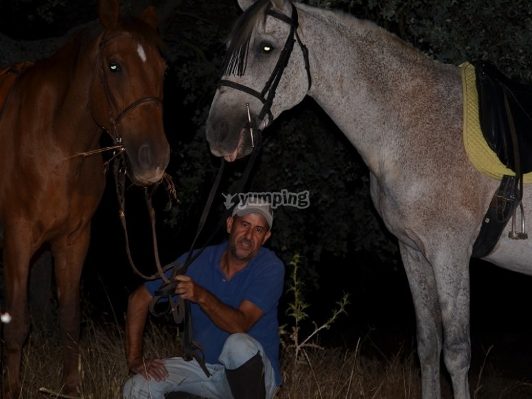 Agachado junto a los caballos