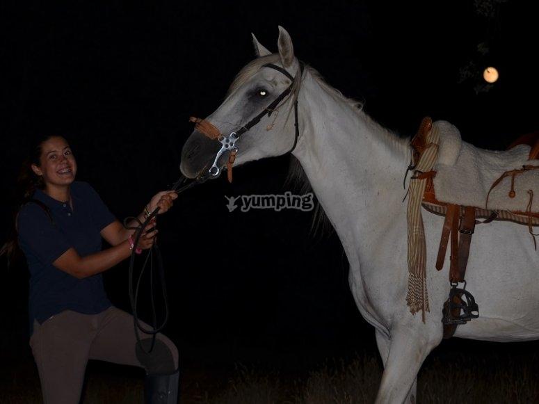 Sujetando al caballo