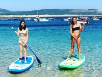Friends practicing paddle surfing