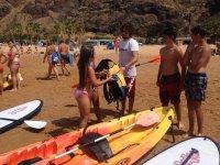 Entrenando el material para el kayak