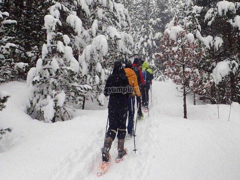 El Portalet con raquetas de nieve