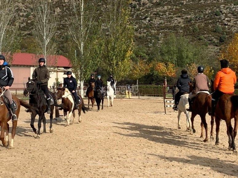 En la pista exterior del centro hípico sobre los caballos