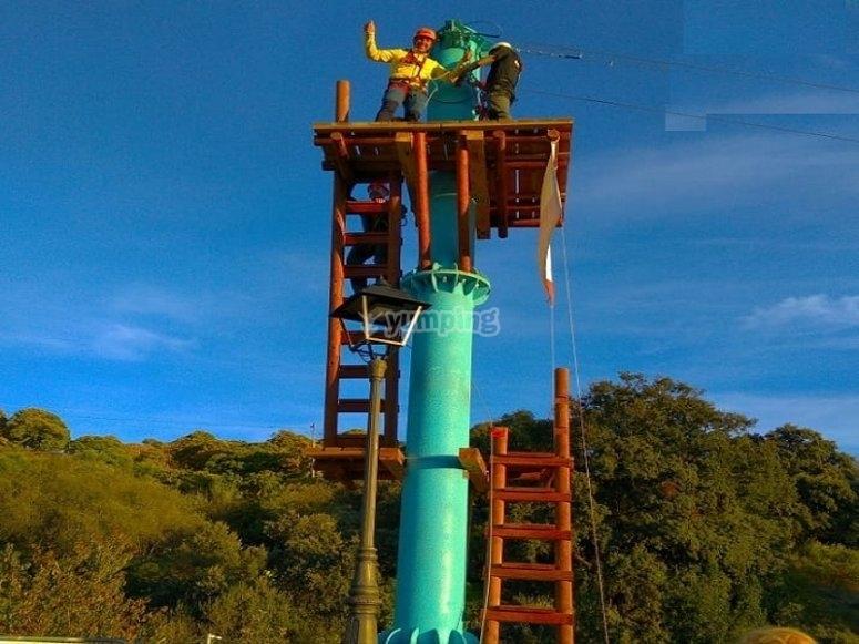 Zip line in Aldea Azul