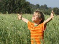男孩张开双臂在田野