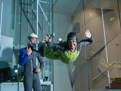 Double skydiving ride in wind tunnel in Isla Azul