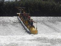 Enjoying the adrenaline on a banana boat