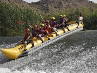 Descending the Segura River on a banana boat