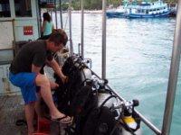 preparando el buceo