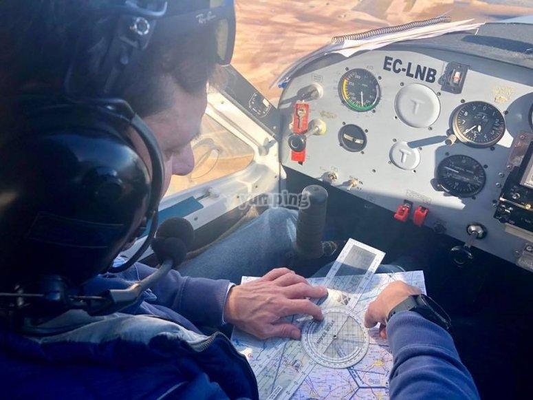 Tomando coordenadas del vuelo