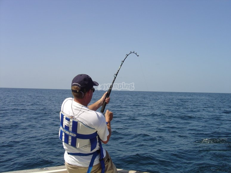 Fishing with the rod from the boat