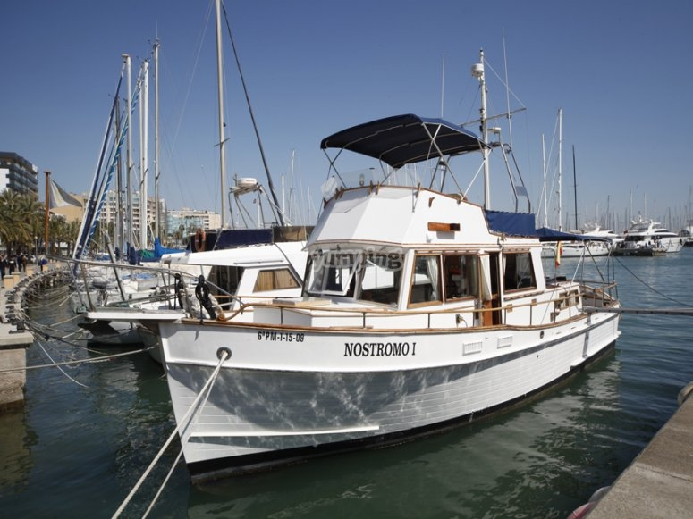 The Nostromo docked at Palma yachting harbor